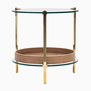 Table d'Appoint Pioneer Amy T79db Laiton Brillant / Noyer / Verre Transparent par Peter Ghyczy