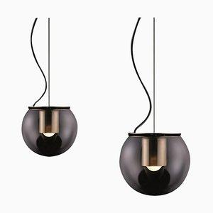 Lámparas de suspensión the Globe Gold de Joe Colombo para Oluce. Juego de 2