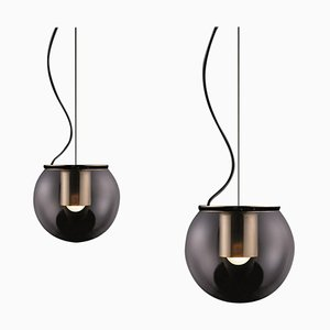 Suspension Lamps the Globe Gold by Joe Colombo for Oluce, Set of 2