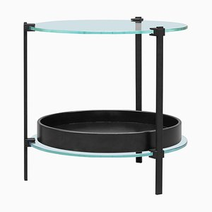Side Table Pioneer Amy T79db Charcoal / Oak / Glass by Peter Ghyczy