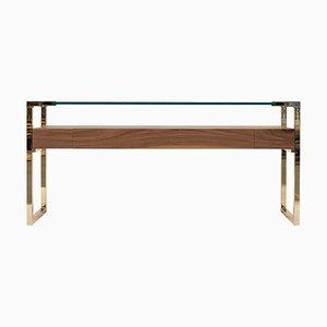 Table Console Pioneer Orson T53l en Laiton / Noyer / Verre Transparent par Peter Ghyczy