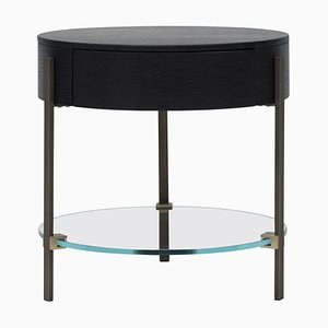 Side Table Pioneer Alice T79l Brass Aged / Optiwhite / Oak Wengé by Peter Gfhyczy