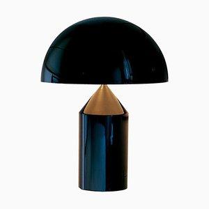 Lampada da tavolo Atollo piccola in metallo nero di Vico Magistretti per Oluce