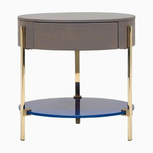 Side Table Pioneer Alice T79l Brass Gloss / Oak 2557 / Ral 5002 by Peter Ghyczy