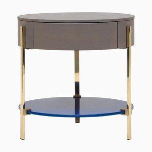 Tavolino Pioneer Alice T79l in ottone lucido / quercia 2557 / Ral 5002 di Peter Ghyczy
