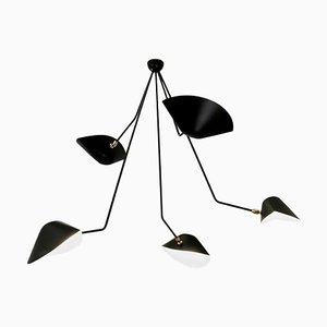 Lámpara de techo Spider 5 con brazos rotos de Serge Mouille