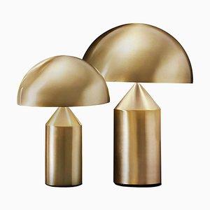 Lámparas de mesa Atollo medianas y pequeñas doradas de Vico Magistretti para Oluce. Juego de 2