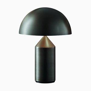 Lámpara de mesa Atollo pequeña de metal satinado de Vico Magistretti para Oluce