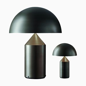 Atollo Large and Small Bronze Table Lamps by Vico Magistretti for Oluce, Set of 2
