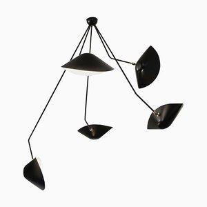 Lámpara de techo Spider moderna de 5 brazos curvos en negro de Serge Mouille
