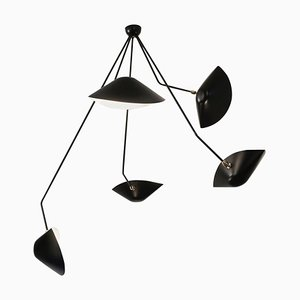 Modern Black 5 Curved Fixed Arms Spider Ceiling Lamp by Serge Mouille