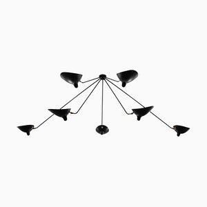Schwarze 7-armige Spider Deckenlampe von Serge Mouille