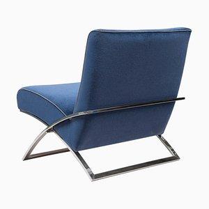 Poltrona Urban Wave Gp03 in acciaio inossidabile lucido / tessuto blu di Peter Ghyczy