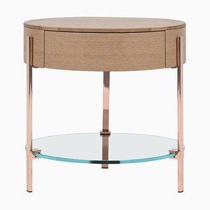 Side Table Pioneer Alice T79l Copper / Oak / Glass by Peter Gfhyczy