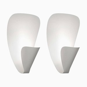 White B206 Wall Sconce Lamp Set by Michel Buffet, Set of 2