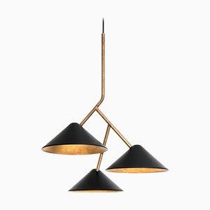 Lampada da soffitto Grenverk in ottone nero di Johan Carpner per Konsthantverk Tyringe
