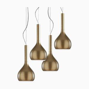 Lámpara de suspensión Lys esmaltada en dorado de Angeletti E Ruzza para Oluce. Juego de 4