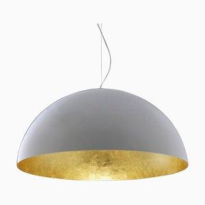Lampe à Suspension Sonora Blanche à l'Extérieur et Dorée à l'Intérieur par Vico Magistretti pour Oluce