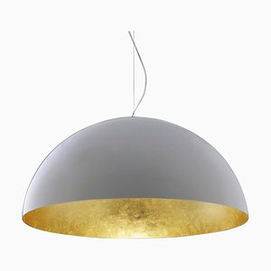 Suspension Lamp Sonora White Outside and Gold Inside by Vico Magistretti for Oluce