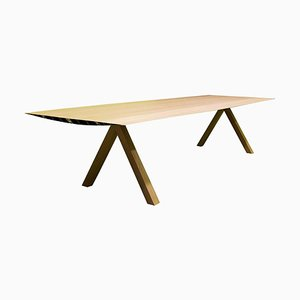 Large Laminated Aluminium 360 B Table with Wood Legs by Konstantin Grcic