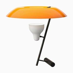 Modell 548 Tischlampe aus brüniertem Messing mit orangenem Schirm von Gino Sarfatti