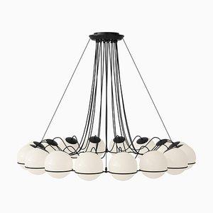 Lámpara de araña modelo 2109/16/20 con estructura negra de Gino Sarfatti