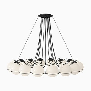 Model 2109/16/20 Chandelier with Black Structure by Gino Sarfatti