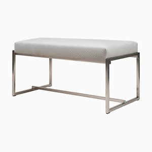 Urban Grace Gb03 Stainless Steel Matte Bench with Pale Grey Fabric by Peter Ghyczy