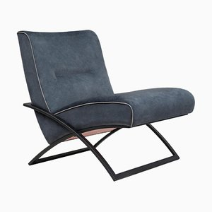 Urban Wave Gp03 Lounge Chair with Charcoal & Dark Blue Fabric by Peter Ghyczy