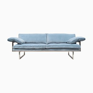 Urban Brad Gp01 Stainless Steel Matte or Velvet Blue Fabric Sofa by Peter Ghyczy