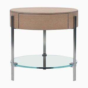 Pioneer Alice T79l Steel, Oak & Glass Side Table by Peter Ghyczy