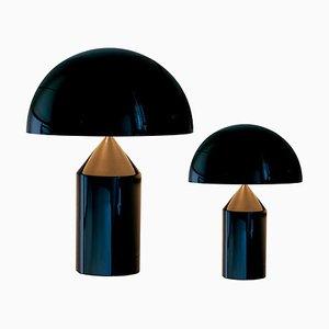 Mittelgroße und kleine Atollo Tischlampen in Schwarz von Peter Ghyczy, 2er Set