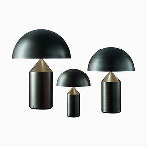 Atollo Large Medium and Small Bronze Table Lamps by Magistretti for Oluce, Set of 3