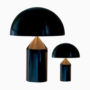 Grandes et Petites Lampes de Bureau Atollo Noires par pour Oluce, Set de 2