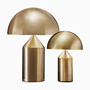 Atollo Large and Medium Gold Table Lamps by for Oluce, Set of 2
