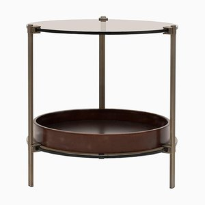 Side Table Pioneer Amy T79db Brass / Cherry / Tinted Glass by Peter Ghyczy