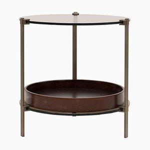 Table d'Appoint Pioneer Amy T79db en Laiton / Merisier / Verre Teinté par Peter Ghyczy