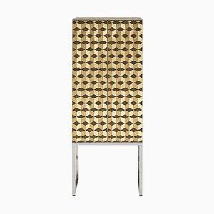 Mobiletto Biri C03 Limited Edition in acciaio / piastrelle in ottone di Peter Ghyczy