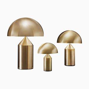 Lampes de Bureau Atollo Large, Medium et Small Dorées par Vico Magistretti pour Oluce, Set de 3