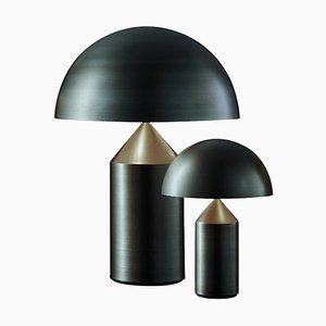 Lampes de Bureau Atollo Medium et Small en Bronze par Vico Magistretti pour Oluce, Set de 2