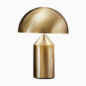 Lampe de Bureau Atollo Medium en Métal Doré par Vico Magistretti pour Oluce
