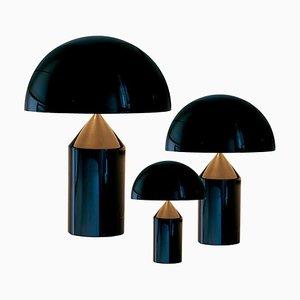 Lampes de Bureau Atollo Large, Medium et Small Noires par Vico Magistretti pour Oluce, Set de 2