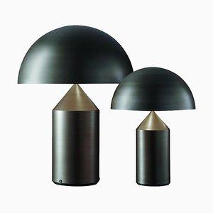 Grandes et Moyennes Lampes de Bureau Atollo en Bronze par Vico Magistretti pour Oluce, Set de 2