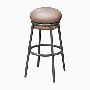 Grasso Leather and Brown Lacquered Metal Stool by Stephen Burks