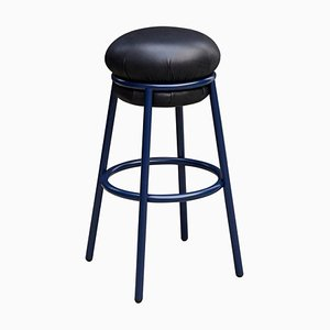 Grasso Black Leather & Blue Lacquered Metal Stool by Stephen Burks