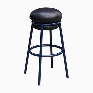 Sgabello Grasso in pelle nera e metallo laccato blu di Stephen Burks