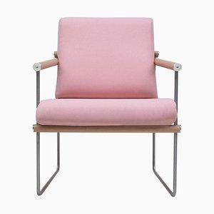 Poltrona Safari GP05 in acciaio, quercia e tessuto rosa di Peter Ghyczy