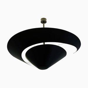 Große schwarze Snail Deckenlampe von Serge Mouille