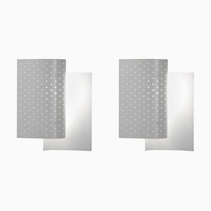 White B205 Wall Sconce Lamp Set by Michel Buffet, Set of 2