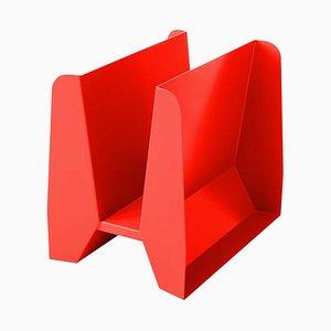 Adler Red Metal Sculptural Magazine Rack by Adolfo Abejon